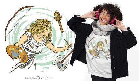 Artista pintando diseño de camiseta.