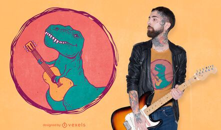 Design de camiseta para guitarrista do T-rex
