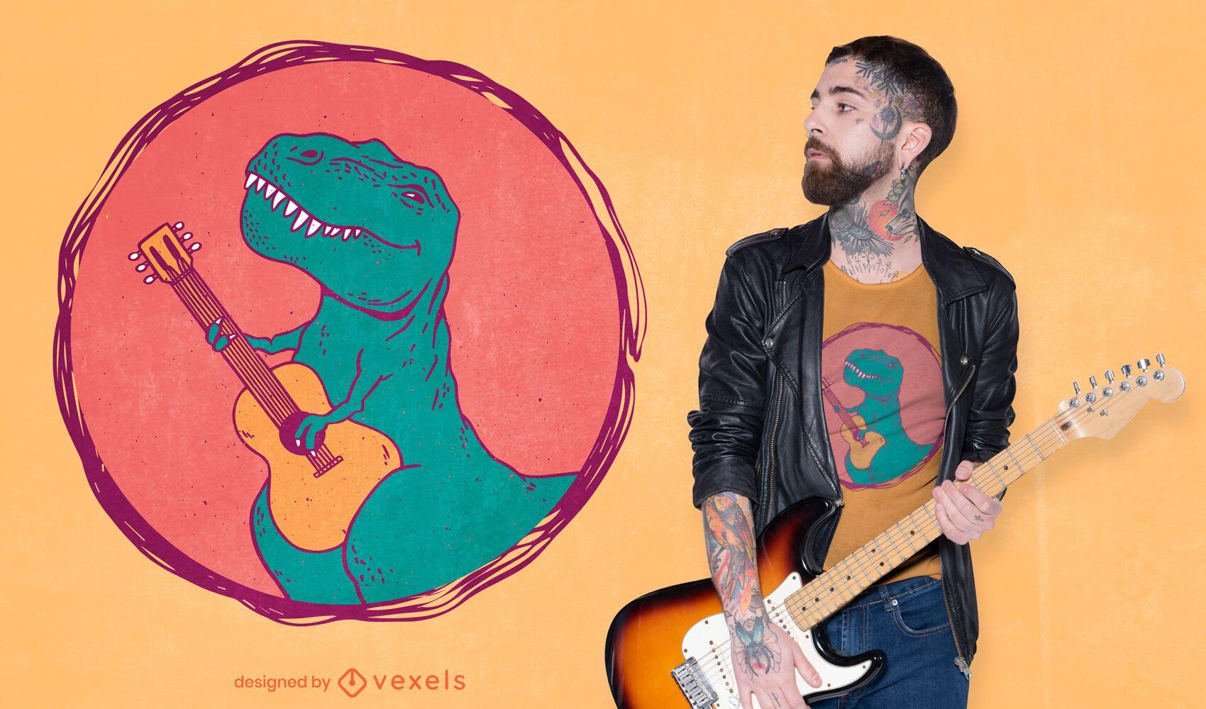 Dise?o de camiseta de guitarrista t-rex.