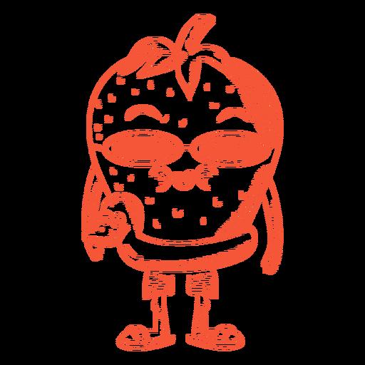 Personaje de verano fresa