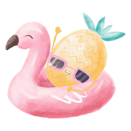 Ananas Sommer schwimmen Aquarell