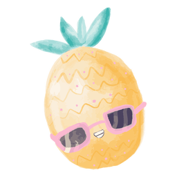 Pineapple sunglasses watercolor