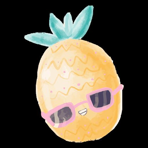 Pineapple sunglasses watercolor Transparent PNG