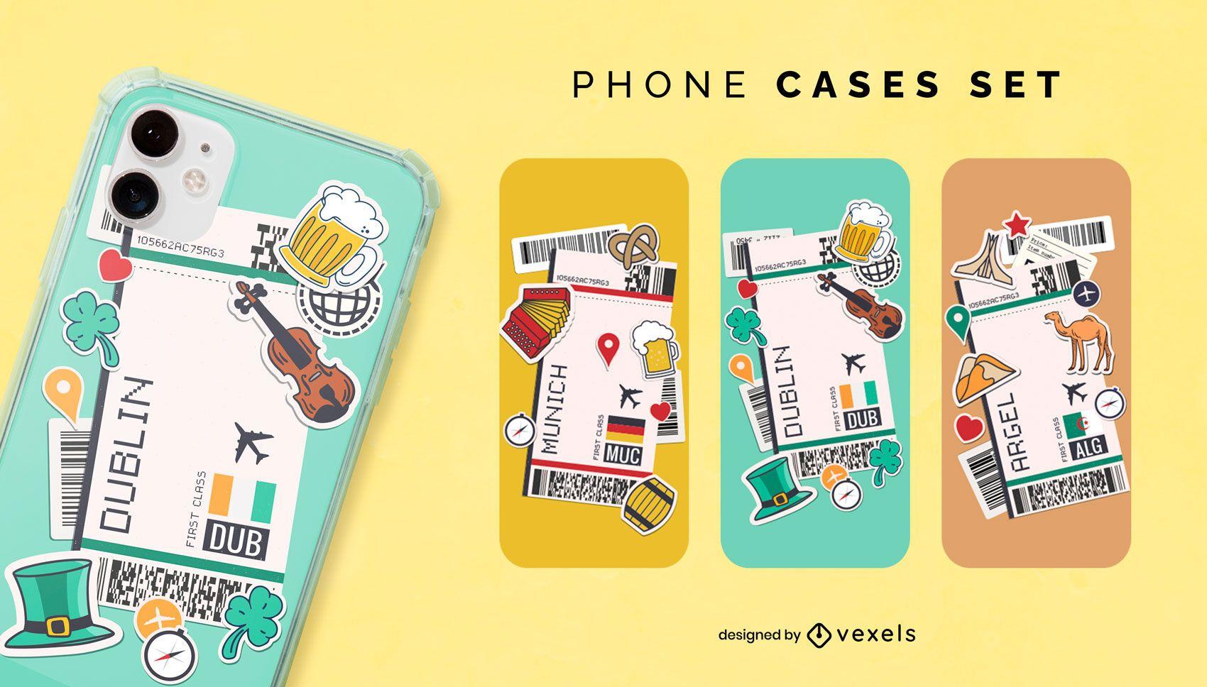 Plane tickets phone cases set