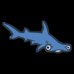 Dibujos animados de tiburón martillo enojado