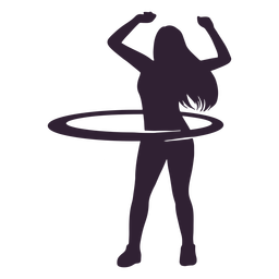 Woman hula hoop people silhouette