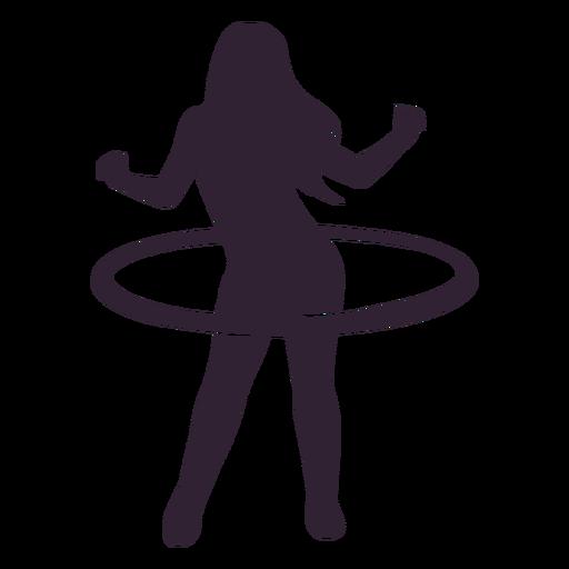 Girl hula hoop people silhouette