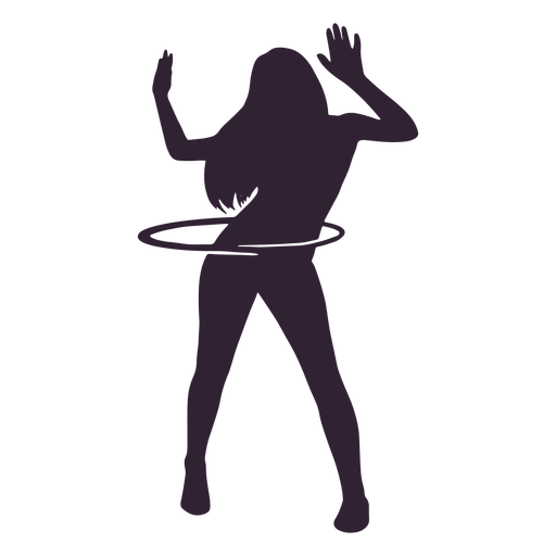 Girl hula hooping hobby silhouette Transparent PNG