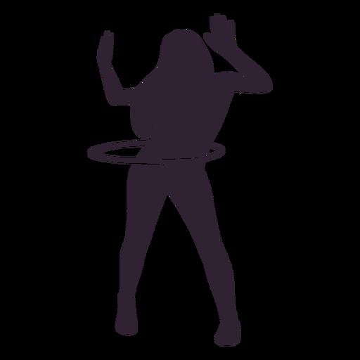 Girl hula hooping hobby silhouette