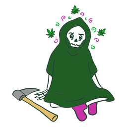 Grim reaper on weed character