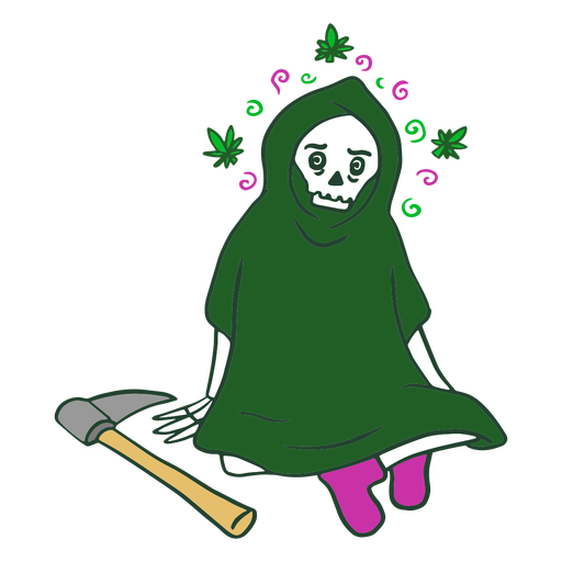 Grim reaper on weed character Transparent PNG