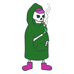 Grim reaper smoking joint character