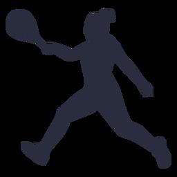 Jugador de tenis de mujer corriendo silueta