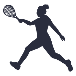 Woman tennis player running silhouette