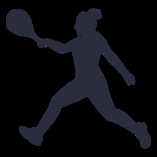 Woman tennis player running silhouette