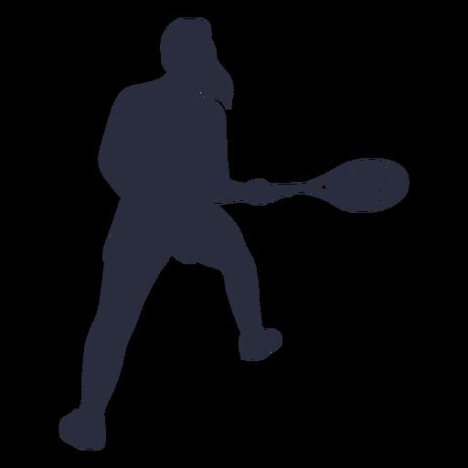 Silueta de pose de jugador de tenis femenino