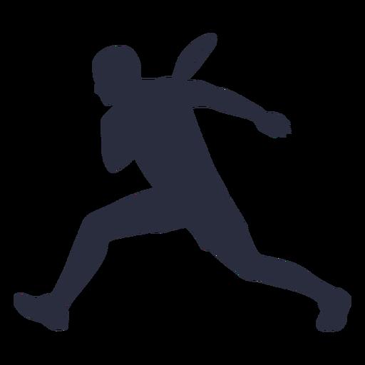 Jugador de tenis masculino corriendo silueta