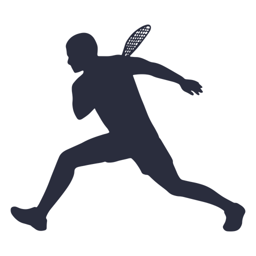 Male tennis player running silhouette