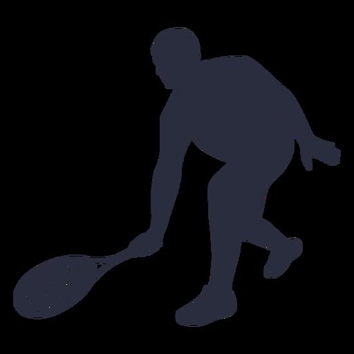 Silueta de pose de jugador de tenis de hombre
