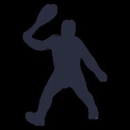 Mann, der Tennissportschattenbild spielt
