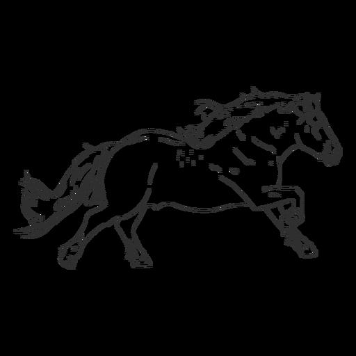 Horse running realistic hand-drawn