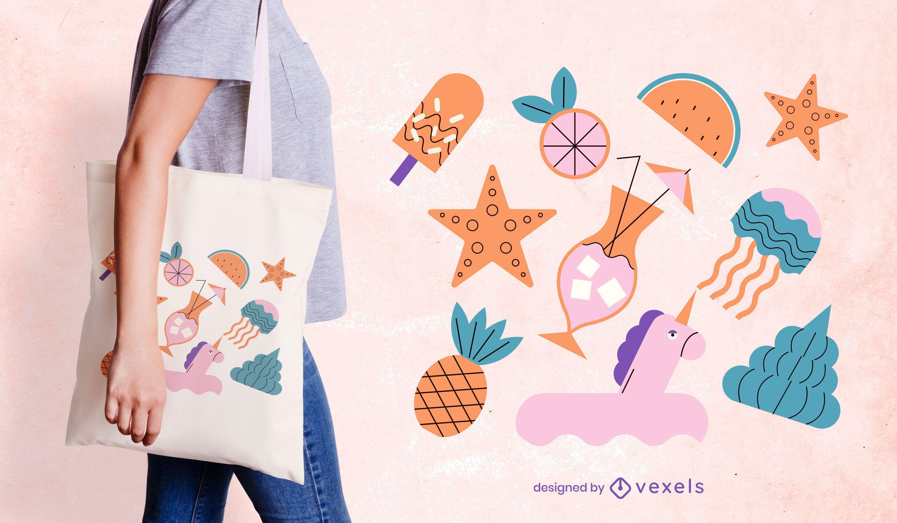 Diseño de bolso de mano de elementos de verano.