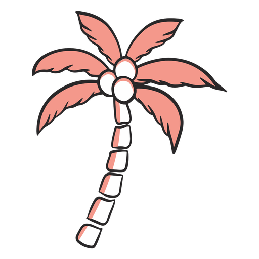 Palm tree color-stroke summer Transparent PNG