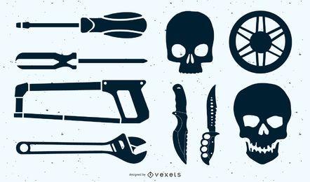Iconos de chatarra aleatorios y efímeras inútiles.