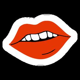Labios rojos boca plana