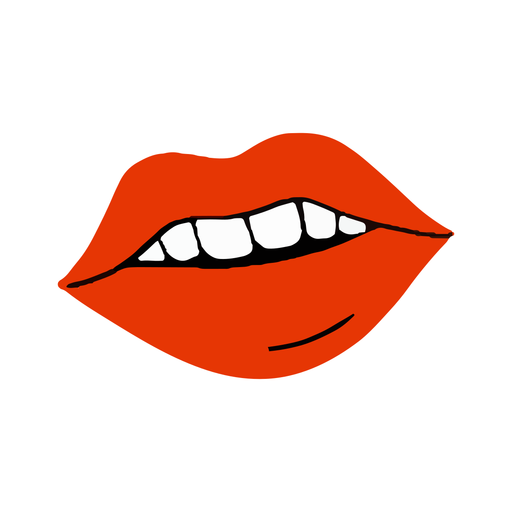 Red lips mouth flat