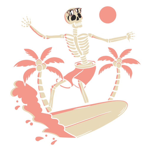 Surfing skeleton tropical
