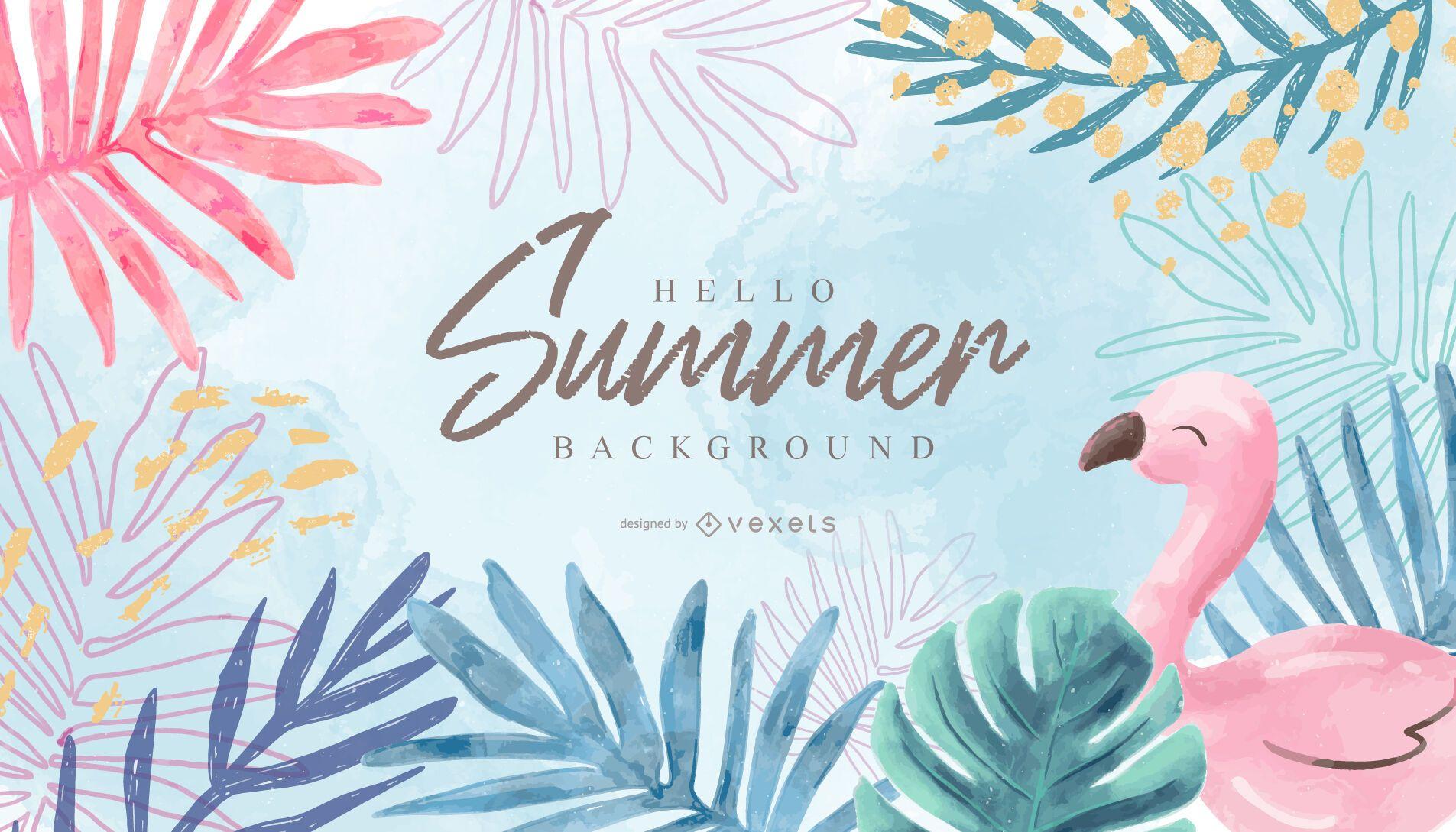 Olá design de fundo de verão