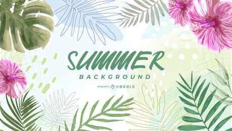 Tropical leaves summer background design