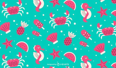 Summer beach elements pattern design