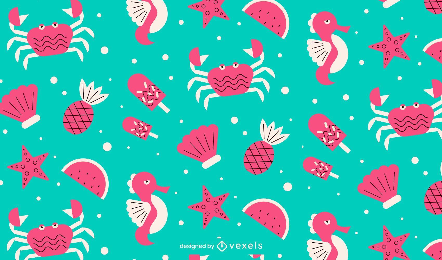 Diseño de patrón de elementos de playa de verano