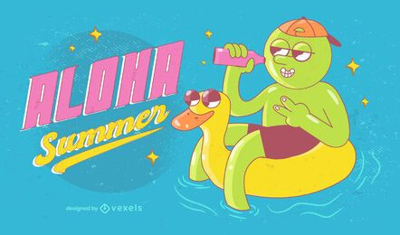 Aloha summer illustration design