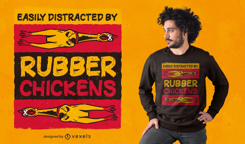Diseño de camiseta de pollos de goma.