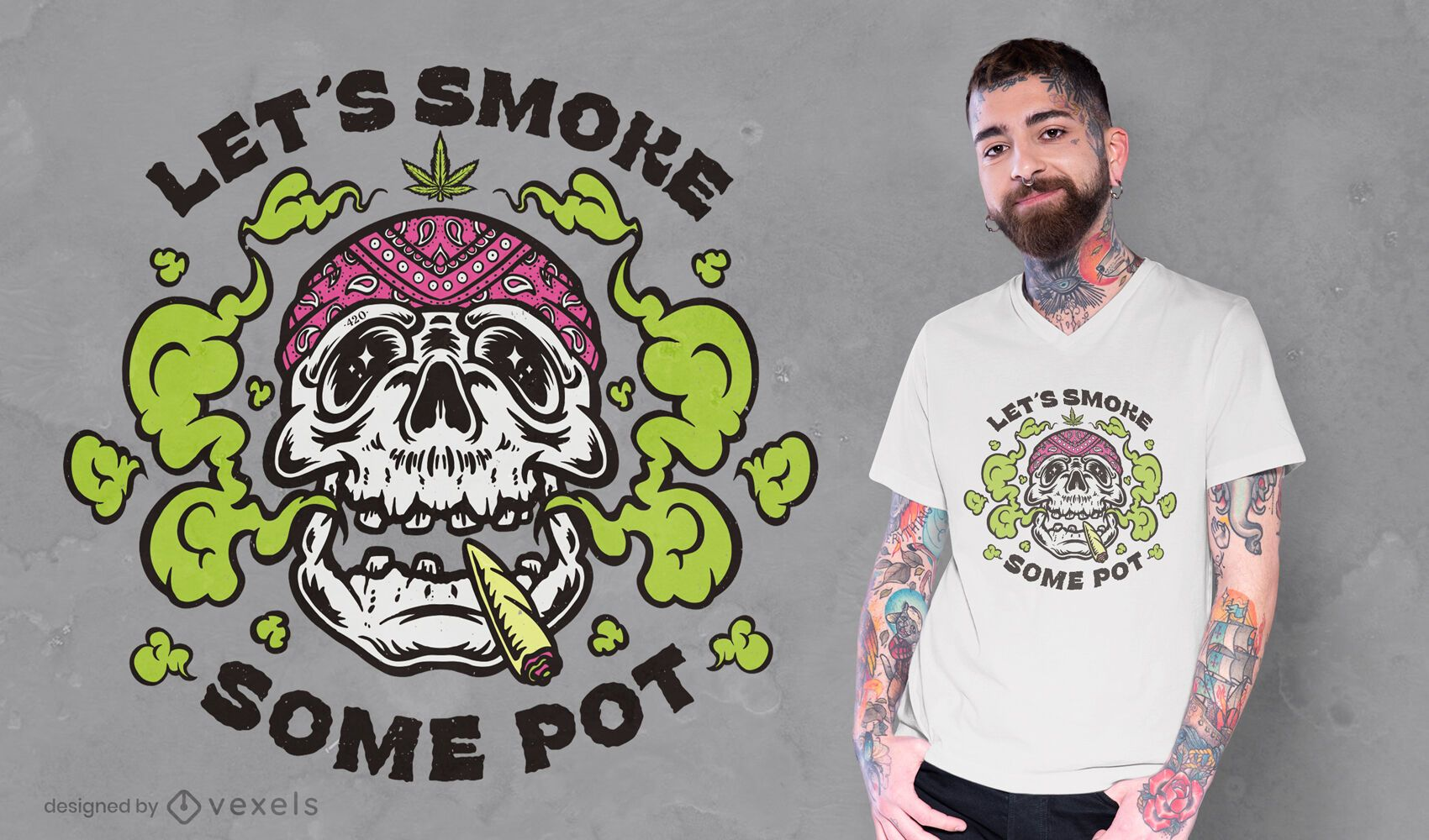 Skull pot t-shirt design