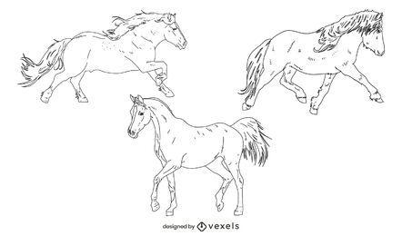Horses thin-line set
