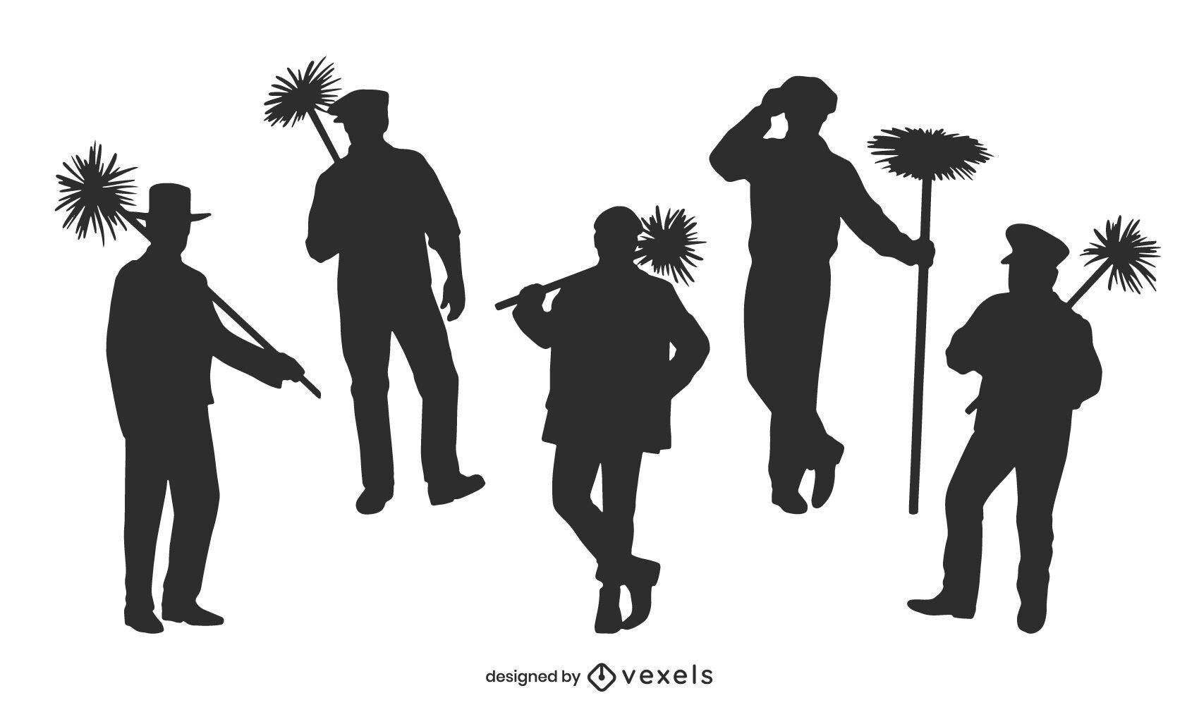 Chimney sweeper silhouette set