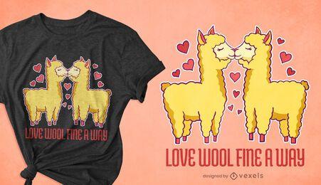 Design de camisetas de amor Alpaca
