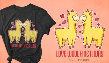 Diseño de camiseta de amor de alpaca.
