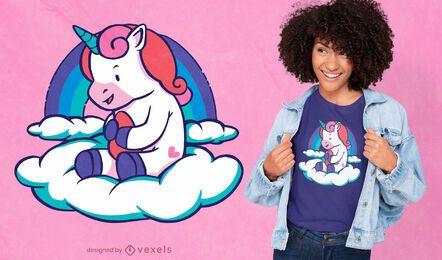 Diseño de camiseta bebé unicornio nube