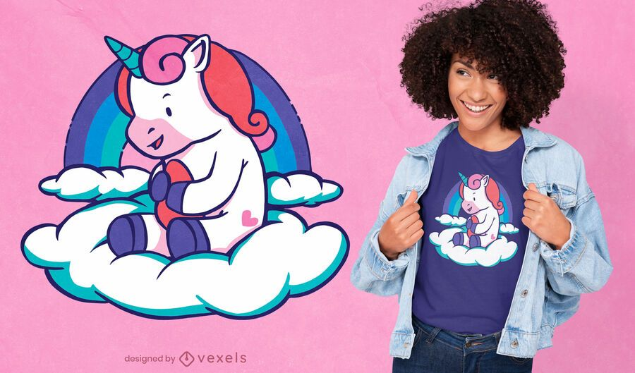 Baby unicorn cloud t-shirt design