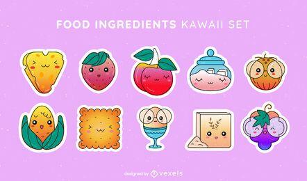 Conjunto kawaii de ingredientes alimentares