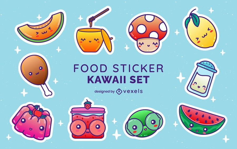 Food sticker kawaii set