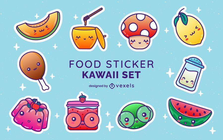 Set de pegatinas de comida kawaii