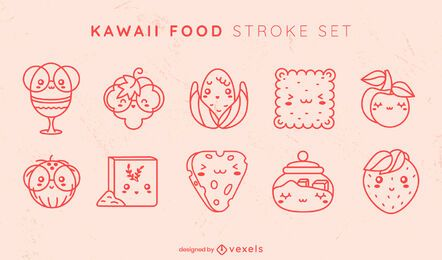 Conjunto de trazos de comida kawaii