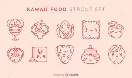 Conjunto kawaii de derrame alimentar