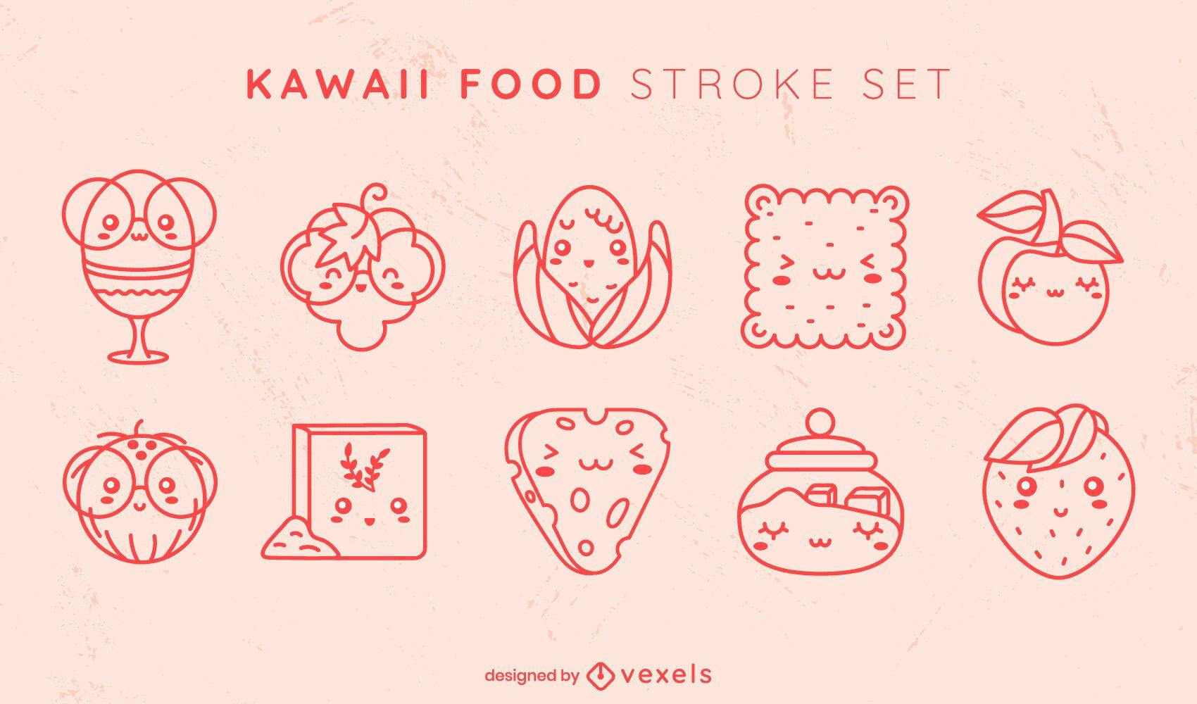 Kawaii food stroke set